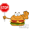 illustration smiling burger cartoon mascot character holding a stop sign vector illustration isolated on white background