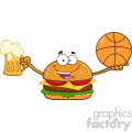 illustration happy burger cartoon mascot character holding a beer and basketball vector illustration isolated on white background