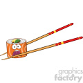 9408 illustration panic sushi roll cartoon mascot character with chopsticks vector illustration isolated on white