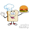illustration chef bread slice cartoon character presenting perfect hamburger vector illustration isolated on white background