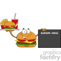 burger cartoon mascot character holding a platter with burger, french fries and soda by sign  burger menu vector illustration isolated on white background gif, png, jpg, eps, svg, pdf