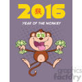 9078 royalty free rf clipart illustration greedy monkey cartoon character jumping with cash money and dollar eyes vector illustration new year greeting card