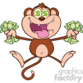 royalty free rf clipart illustration greedy monkey cartoon character jumping with cash money and dollar eyes vector illustration isolated on white