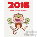 royalty free rf clipart illustration greedy monkey cartoon character jumping with cash money and dollar eyes vector illustration new year greeting card