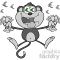 royalty free rf clipart illustration rich monkey cartoon character jumping with cash money and euro eyes gray color vector illustration isolated on white