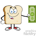 royalty free rf clipart illustration cute bread slice cartoon mascot character holding a dollar bill vector illustration isolated on white