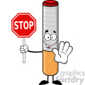 royalty free rf clipart illustration electronic cigarette cartoon mascot character gesturing and holding a stop sign vector illustration isolated on white background