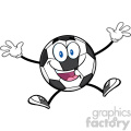 happy soccer ball cartoon mascot character jumping vector illustration isolated on white background  gif, png, jpg, eps, svg, pdf
