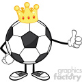 king soccer ball faceless cartoon mascot character with golden crown giving a thumb up vector illustration isolated on white background gif, png, jpg, eps, svg, pdf