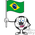 happy soccer ball cartoon mascot character holding a flag of brazil vector illustration isolated on white background