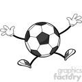 soccer ball faceless cartoon mascot character jumping vector illustration isolated on white background