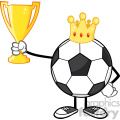 king soccer ball faceless cartoon character with crown holding a golden trophy cup vector illustration isolated on white background