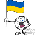 happy soccer ball cartoon mascot character holding a flag of ukraine vector illustration isolated on white background