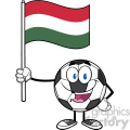 happy soccer ball cartoon mascot character holding a flag of hungary vector illustration isolated on white background gif, png, jpg, eps, svg, pdf
