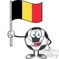 happy soccer ball cartoon mascot character holding a flag of belgium vector illustration isolated on white background