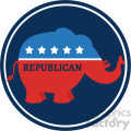 republican elephant cartoon blue circale label vector illustration flat design style isolated on white gif, png, jpg, eps, svg, pdf