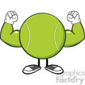 tennis ball faceless cartoon mascot character flexing vector illustration isolated on white background gif, png, jpg, eps, svg, pdf