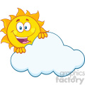 happy summer sun mascot cartoon character hiding behind cloud vector illustration isolated on white background