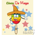 happy colorful mexican maracas cartoon mascot character with sombrero hat giving a thumbs up vector illustration with background and text cinco de mayo