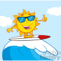 surfer sun cartoon mascot character with sunglasses riding a wave and showing thumb up vector illustration with background