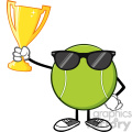 tennis ball faceless cartoon mascot character with sunglasses holding a trophy cup vector illustration isolated on white background