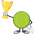 tennis ball faceless cartoon mascot character holding a trophy cup vector illustration isolated on white background gif, png, jpg, eps, svg, pdf
