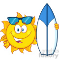 happy sun cartoon mascot character with sunglasses holding a surf board vector illustration isolated on white background