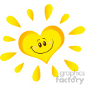 smiling sun heart cartoon mascot character in gradient vector illustration isolated on white background