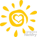 abstract sun with heart simple design vector illustration isolated on white background