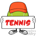 tennis ball faceless cartoon mascot character with hat holding a blank sign vector illustration with text tennis isolated on white background gif, png, jpg, eps, svg, pdf