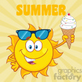 cute sun cartoon mascot character with sunglasses holding a ice cream vector illustration with sunburst background and text summer