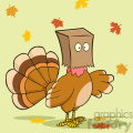 turkey bird hiding under a bag vector illustration with background