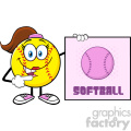 talking softball girl cartoon mascot character pointing to a sign with text softball vector illustration isolated on white background gif, png, jpg, eps, svg, pdf