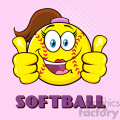 cute softball girl cartoon character giving a double thumbs up vector illustration with pink halfone background and text softball gif, png, jpg, eps, svg, pdf