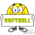 smiling softall cartoon mascot character holding a sign vector illustration with text softball isolated on white background