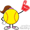 softball girl faceless cartoon mascot character wearing a foam finger vector illustration isolated on white background gif, png, jpg, eps, svg, pdf