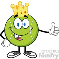king tennis ball cartoon mascot character with golden crown giving a thumb up vector illustration isolated on white