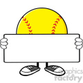 10339 softball faceless cartoon mascot character holding a blank sign vector illustration isolated on white background