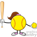 softball girl faceless cartoon mascot character holding a bat and ball vector illustration isolated on white background gif, png, jpg, eps, svg, pdf