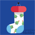 cartoon christmas stocking on blue square with christmas trees vector flat design