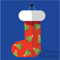 red christmas stocking on blue square with christmas trees vector flat design