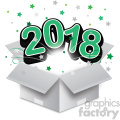 green 2018 new year exploding from a box vector art  gif, png, jpg, eps, svg, pdf
