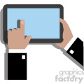 hands holding ipad surface device flat design vector art no background black coat