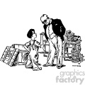 the kid and the banker vintage 1900 vector art GF