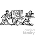 kids pushing cart carrying a crate vintage 1900 vector art GF