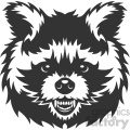 angry raccoon head vector art