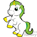 cartoon unicorn with green hair vector clip art