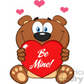 10679 Royalty Free RF Clipart Smiling Brown Teddy Bear Cartoon Mascot Character Holding A Valentine Love Heart With Text Be Me Vector Illustration