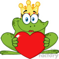 10661 Royalty Free RF Clipart Cute Princess Frog Cartoon Mascot Character With Crown Holding A Love Heart Vector Illustration