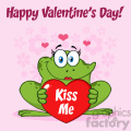 10666 Royalty Free Clipart Smiling Frog Female Cartoon Mascot Character Holding A Valentine Love Heart With Text Kiss Me Vector Greeting Card With Flowers And Text Happy Valentine Day
